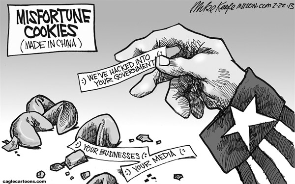 Mike Keefe - Cagle Cartoons - Misfortune Cookies  - English - fortune; cookie; misfortune; china; cyber; attack; hacking; government; media; business; internet