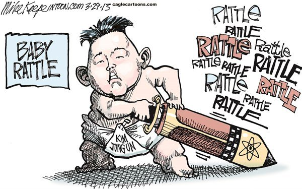 Mike Keefe - Cagle Cartoons - Baby Rattle COLOR - English - 		babby; rattle; kim; jong; un; missile; nuclear; saber
