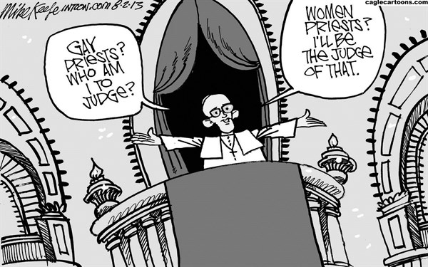 Mike Keefe - Cagle Cartoons - Pope Francis on Gays  - English - pope; francis; gay; homosexual; women; priest; vatican; catholic; church; doctrine