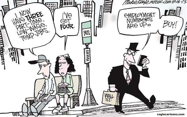 Mike Keefe - Cagle Cartoons - Employment Numbers COLOR - English - employment; jobless; jobs; temp; low-wage; part-time; economy; wall; street; middle; class