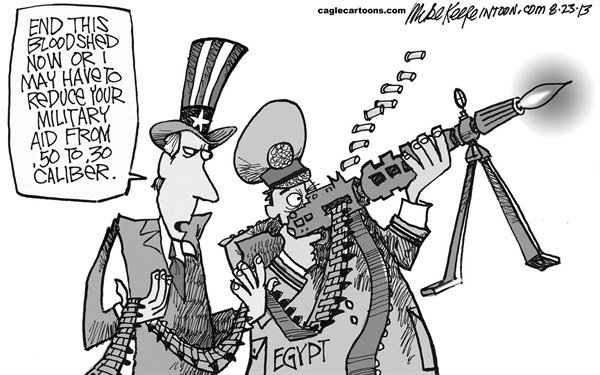 Mike Keefe - Cagle Cartoons - Aid to Egypt - English - egypt; military; aid; USA; crackdown; coup; muslim; brotherhood; violence; morsi