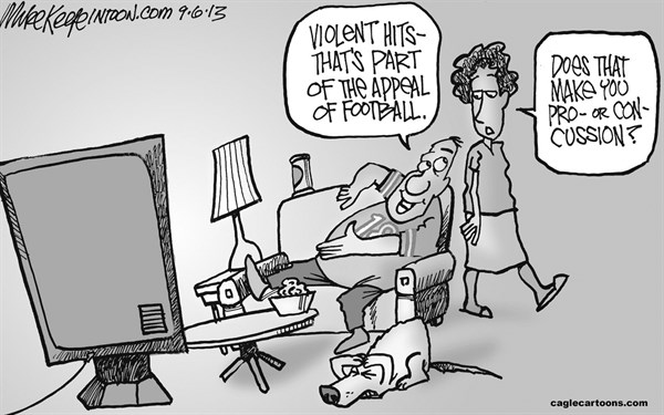 Mike Keefe - Cagle Cartoons - Football Violence  - English - football; violence; nfl; concussion; injury; sports; settlement; players