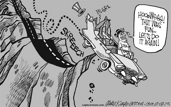 Mike Keefe - Cagle Cartoons - The Brink  - English - tea; party; shutdown; government; brink; cliff; debt; ceiling; continuing; resolution; obama; boehner; cruz