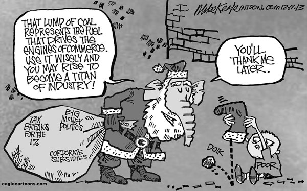 Mike Keefe - Cagle Cartoons - GOP Christmas  - English - gop; republican; chrismas; poor; minimum; wage; food; stamps; living; Tax; breaks; rich; 1; Bailout; corporate; welfare