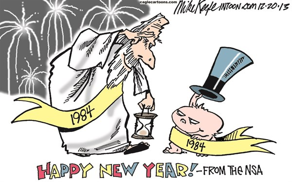 Mike Keefe - Cagle Cartoons - NSA New Year COLOR - English - nsa; new; year; surveillance; domestic; spying; constitution; snowden