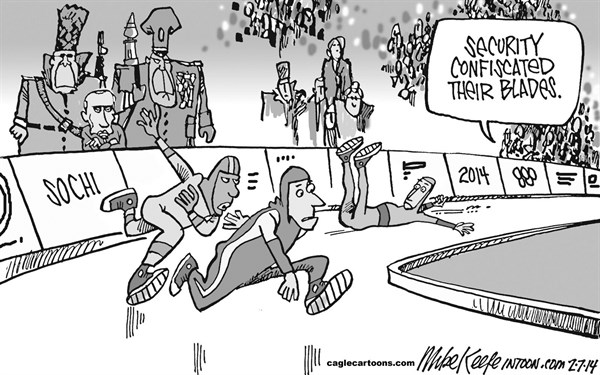 Mike Keefe - Cagle Cartoons - Sochi Security  - English - olympics; russia; soshi; putin; security; terrorism; threat; winter; sports