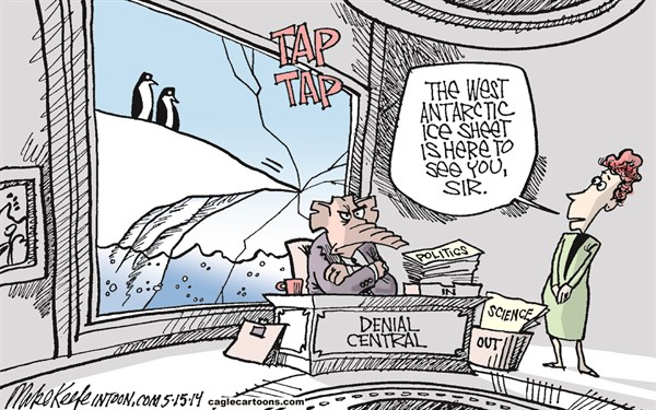 Mike Keefe - Cagle Cartoons - Antarctic Ice Sheet COLOR - English - global; warming; antarctic; ice; sheet; melting; climate; change; science; politics; denial; republicans
