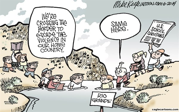 Mike Keefe - Cagle Cartoons - Young Refugees COLOR - English - central; america; violence; border; immigrant; illegal; gun; classroom; shooting; rio; grande