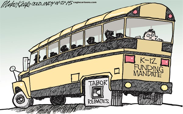 LOCAL ado K 12 Funding © Mike Keefe,Cagle Cartoons,k-12; funding; mandate; amendment; 23; tabor; rebate; colorado; budget