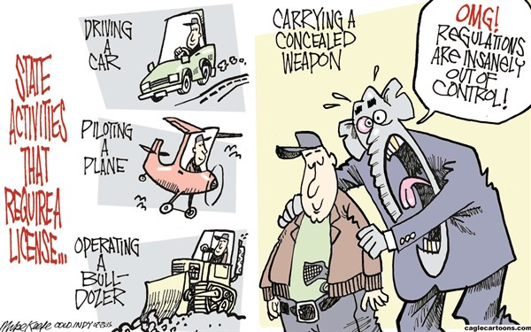 Concealed Carry Permits © Mike Keefe,Cagle Cartoons,concealed; carry; weapon; license; permit; regulation; colorado; state; republican; gun; rights