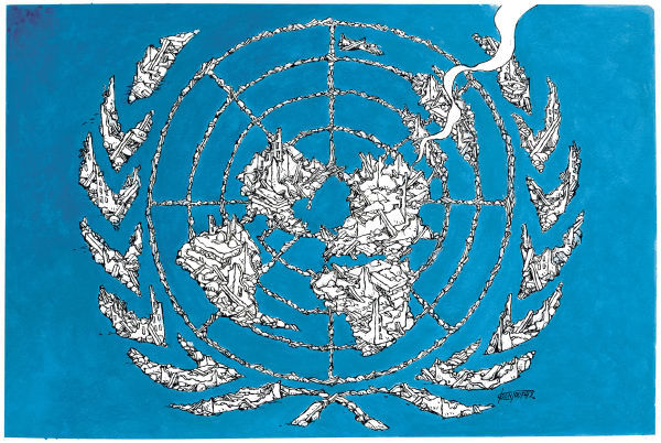 Michael Kountouris - Greece - Israel targeted UN  color - English - Israel, United Nations, bombing, gaza, war, massacre, rubbles