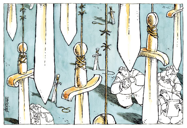 Michael Kountouris - Greece - Sword of Damocles COLOR - English - fears, swords, economy, sword of Damocles