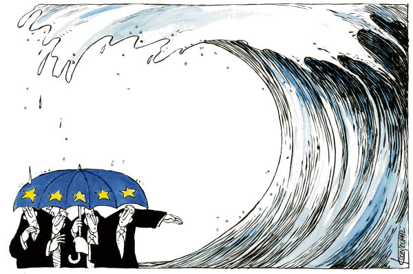 Michael Kountouris - Greece - Europeans - English - Financial crisis, Europe, economy, wave, umbrella
