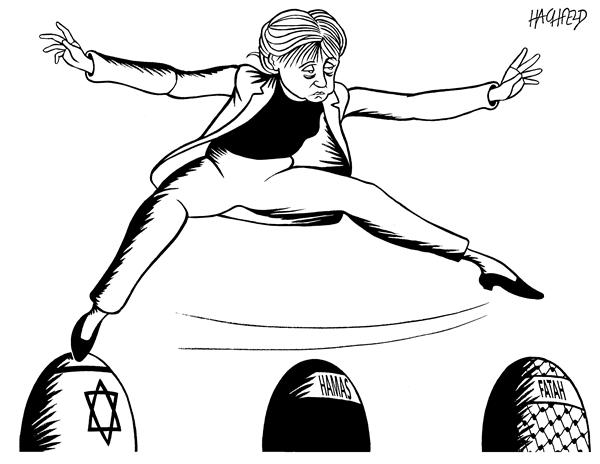 Rainer Hachfeld - Neues Deutschland, Germany - Merkel in Middle East - English - german chancellor Merkel Israel Hamas Fatah