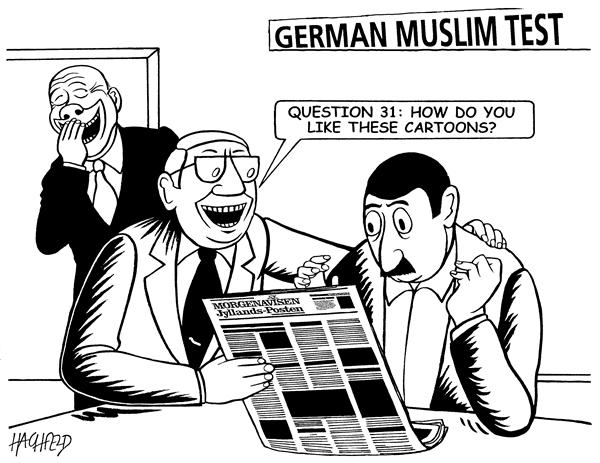 Rainer Hachfeld - Neues Deutschland, Germany - german conviction test for muslim immigrants - English - two testers muslim immigrant Danish newspaper