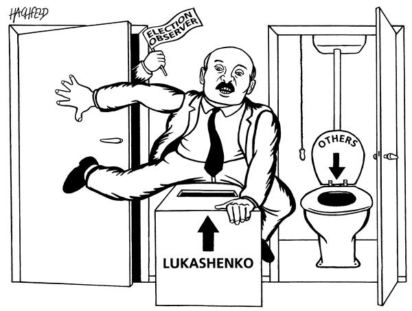 Rainer Hachfeld - Neues Deutschland, Germany - Election belorus - English - election observer Lukaschenko ballot box toilet