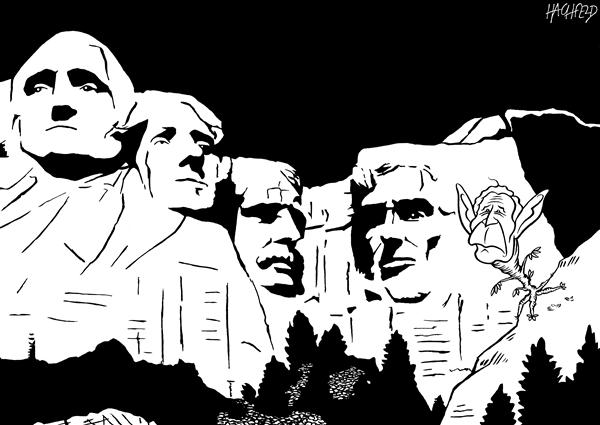 Rainer Hachfeld - Neues Deutschland, Germany - Mount Rushmore - English - George Washington, Thomas Jefferson, Theodore Roosevelt, Abraham Lincoln, George W Bush,