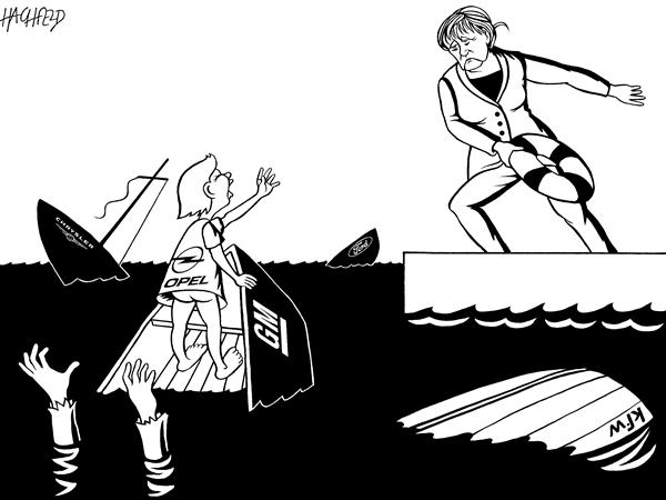 Rainer Hachfeld - Neues Deutschland, Germany - Merkel saves Opel - English - Angela Merkel, Opel kid, sinking boats