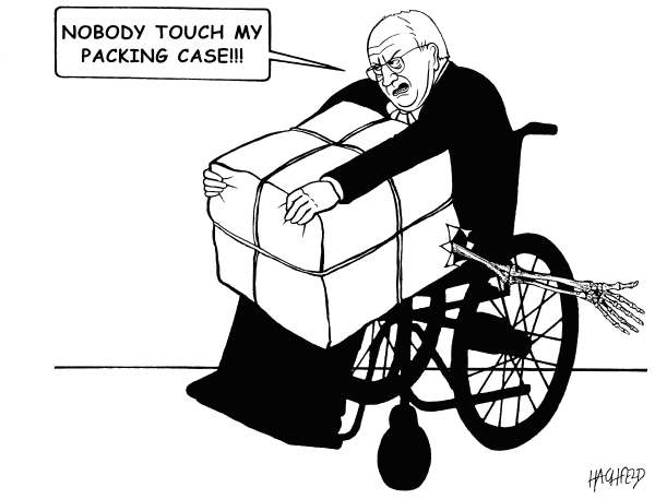 Rainer Hachfeld - Neues Deutschland, Germany - Cheneys packung case - English - Dick Cheney, with a packing case in a wheel-chair