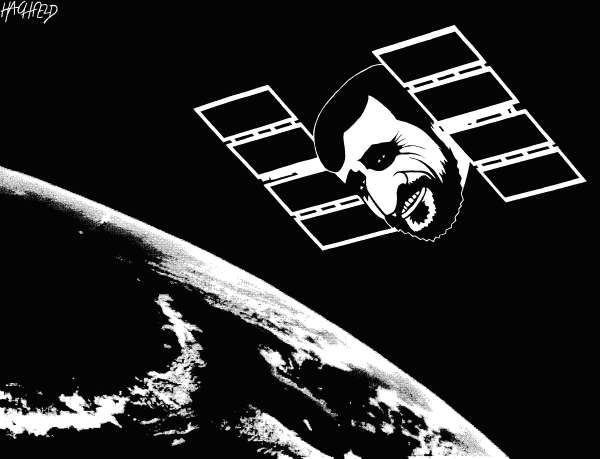 Rainer Hachfeld - Neues Deutschland, Germany - Iranian satellite - English - Ahmadinejad, in the form of a satellite