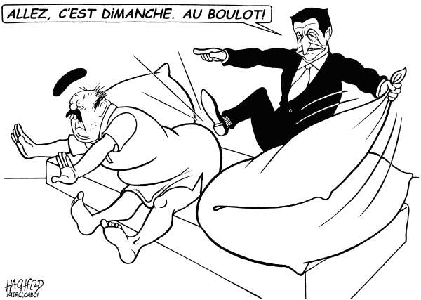 "Rainer Hachfeld - Neues Deutschland, Germany - Sarkozy, Sunday work - English - Nicolas Sarkozy, Frenchman, french caption ""Cmon, its Sunday To work"""