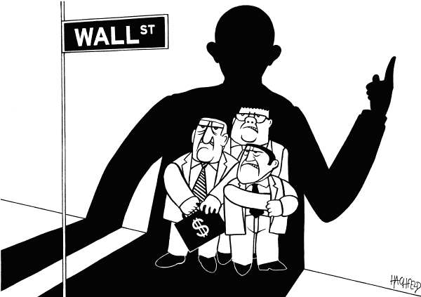 Rainer Hachfeld - Neues Deutschland, Germany - Obama warns Wall Street - English - Barack Obama, as a shadow, Wall Street benkers