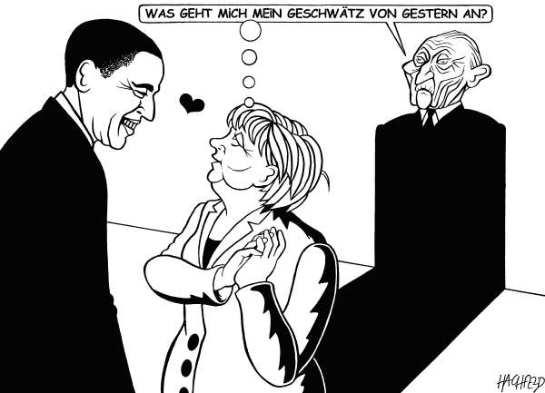 "Rainer Hachfeld - Neues Deutschland, Germany - Obama, Merkel, Adenauer - English - Barack Obama, Angela Merkel, Konrad Adenauer, as Merkels shadow, saying ""Whats it to me what I blabbed yesterday"""