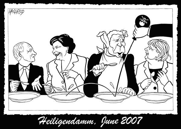 Rainer Hachfeld - Neues Deutschland, Germany - Heiligendamm, June 2007 - English - Vladimir Putin, Laura Bush, George W Bush, Angela Merkel