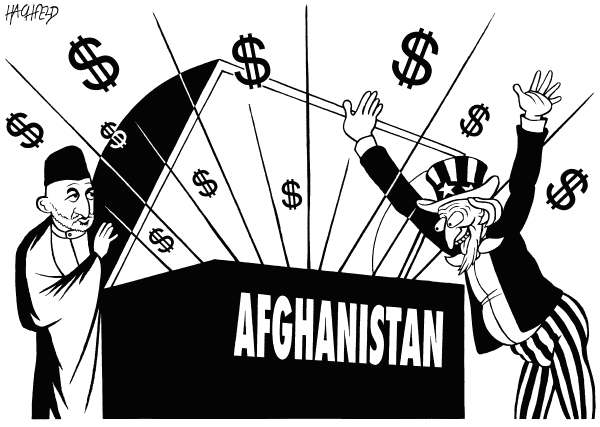Afghanistan riches © Rainer Hachfeld,Neues Deutschland, Germany,Hamid Karzai, Uncle Sam, Afghan treasury