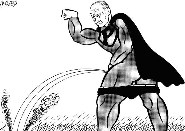 Rainer Hachfeld - Neues Deutschland, Germany - Putin Superman - English - Vladimir Putin, in a Superman outfit