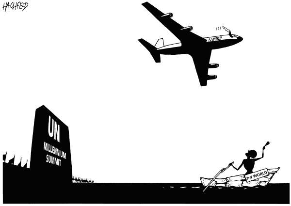 Rainer Hachfeld - Neues Deutschland, Germany - After the UN Summit - English - UN building, st world plane, 3rd world rowboat