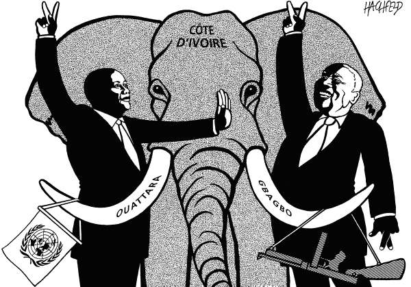 Rainer Hachfeld - Neues Deutschland, Germany - Ivory Coast - English - Laurent Gbagbo, Alessane Ouattara, elephant symbolizing Ivory Coast, UN flag, machine gun