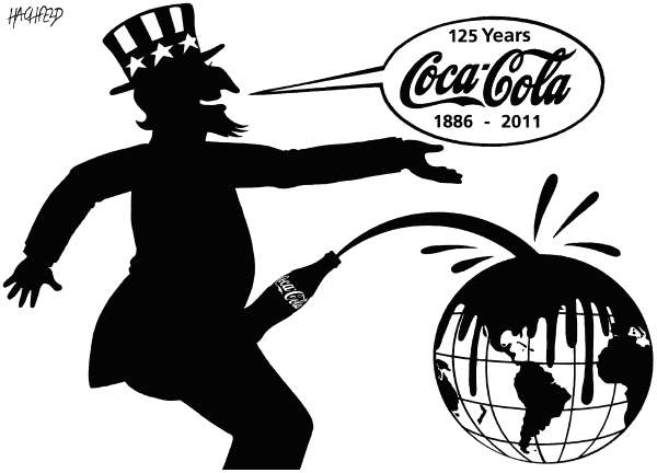 Rainer Hachfeld - Neues Deutschland, Germany - 125 Years Coca-Cola - English - Uncle Sam, Coca-Cola bottle penis, globe