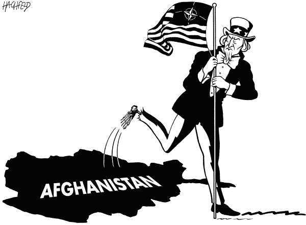 Rainer Hachfeld - Neues Deutschland, Germany - Out of Vietnam - English - Afghanistan map, Uncle Sam, NATO Star and Stripes flag