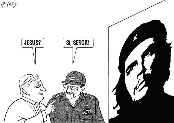 Rainer Hachfeld - Neues Deutschland, Germany - Pope visits Cuba - English - Pope Benedict XVI, Raúl Castro, picture of Che Guevara