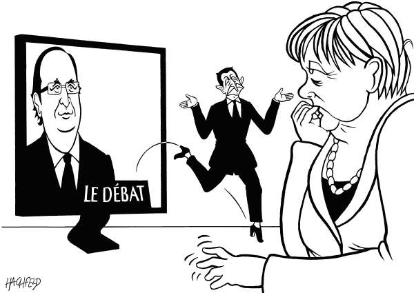 111039 600 Merkel after the French tv debate cartoons