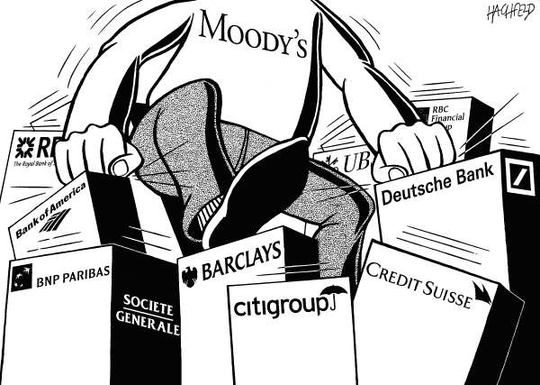 Rainer Hachfeld - Neues Deutschland, Germany - Moody's downgrades 15 banks - English - man from Moodys damaging banks