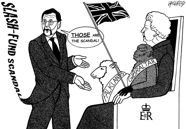 Rainer Hachfeld - Neues Deutschland, Germany - Rajoy, Queen and friends - English - Mariano Rajoy, Queen Elizabeth II, animals