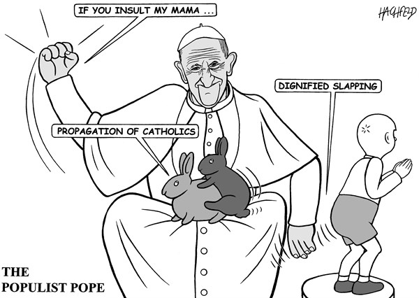 The Populist Pope © Rainer Hachfeld,Neues Deutschland, Germany,Pope Francis, fucking rabbits, little boy