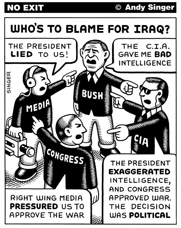 Andy Singer - Politicalcartoons.com - Blame for Iraq War - English - iraq,Iraq,war,wars,media,democrats,Democrats,Republicans,republicans,Bush,bush,GW,gw,President,president,CIA,cia,Tenet,tenet,intelligence,media,wmd,WMD,weapons,decisions,information,blame,blame game,responsible,responsibility,congress
