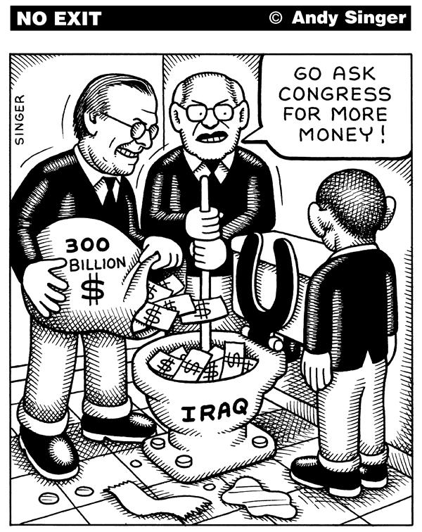 Andy Singer - Politicalcartoons.com - Rumsfeld and Cheney flush money down Iraq toilet - English - iraq,Iraq,iraqi,Iraqi,war,invasion,occupation,Donald,donald,Rumsfeld,rumsfeld,Dick,Cheney,cheney,Bush,bush,George,george,GW,gw,W,cost,spending,supplemental,appropriations,budget,deficit,deficits,national,debt,toilet,toilets,money,taxes,tax,dollars