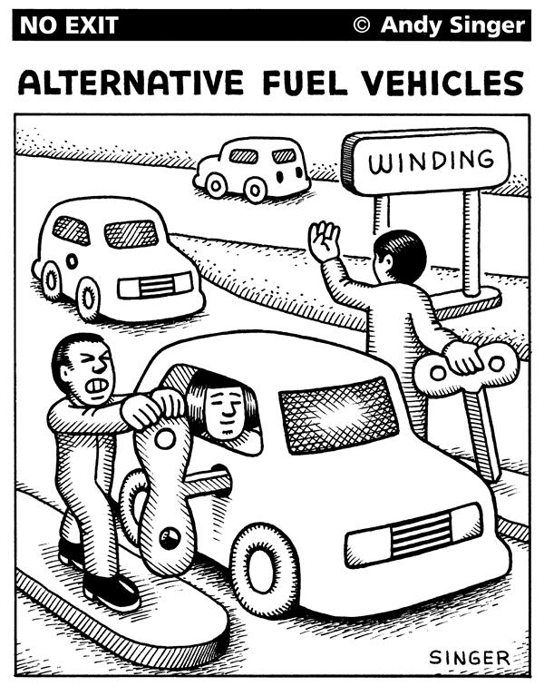 Andy Singer - Politicalcartoons.com - Alterative Fuel Vehicle Concept - English - alternative,fuel,gas,oil,petrol,petroleum,energy,vehicle,vehicles,car,cars,auto,autos,automobile,automobiles,motor,hybrid,hybrids,cell,cells,fuel,cell,drive,driving,transportation,highways