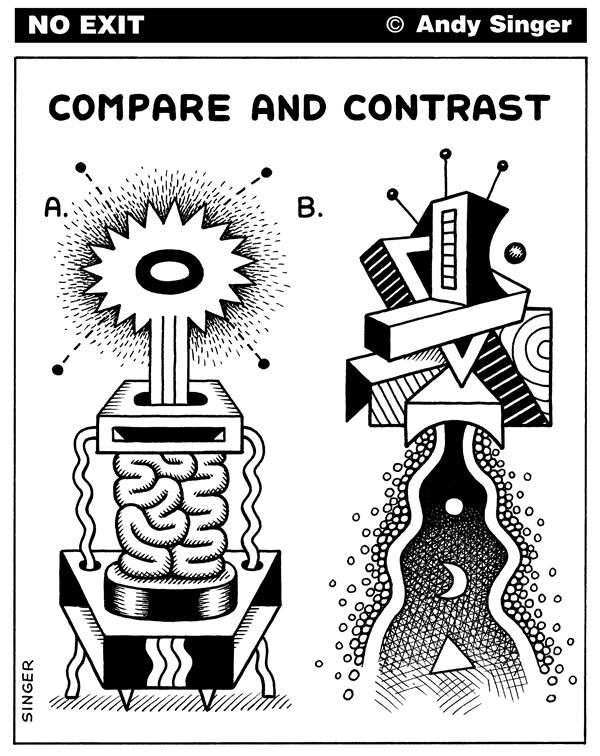 Andy Singer - Politicalcartoons.com - Compare and Contrast Abstract Doodles - English - compare,contrast,exam,exams,question,questions,test,tests,art,absurd,absurdity,surreal,surrealism,drawing,difference,different,abstract