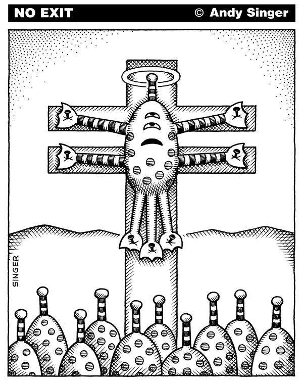 Andy Singer - Politicalcartoons.com - Crucified Alien - English - religion,religions,christian,Christians,christianity,faith,faiths,crucifix,crucifixes,crucifixion,crucified,crucify,Christ,alien,aliens,science,sciences,fiction,alienation,alienated,cross,crosses,planet,planets