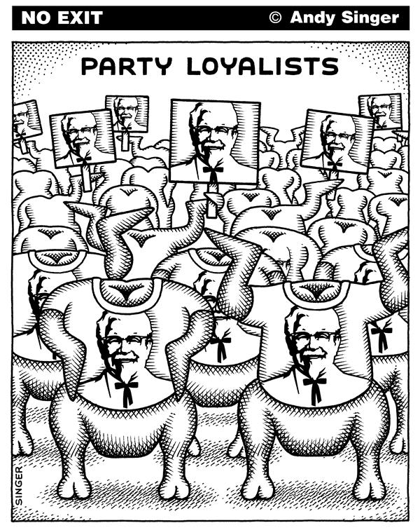 Andy Singer - Politicalcartoons.com - Party Loyalists - English - political,party,parties,politic,politics,Democrat,democrats,Republican,republicans,rally,rallies,convention,conventions,campaign,campaigns,campaigning,loyal,loyalist,loyalists,supporter,supporters,Kentucky,fried,chicken,chickens,colonel,Sanders,KFC