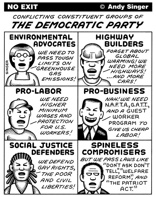 Andy Singer - Politicalcartoons.com - Conflicting Democratic Party Groups - English - conflicting,Democratic,democratic,Democrat,Democrats,political,party,parties,constituent,group,groups,constituencies,environment,environmental,advocate,advocacy,labor,union,unions,business,corporations,civil,rights,spineless,compromisers,compromise