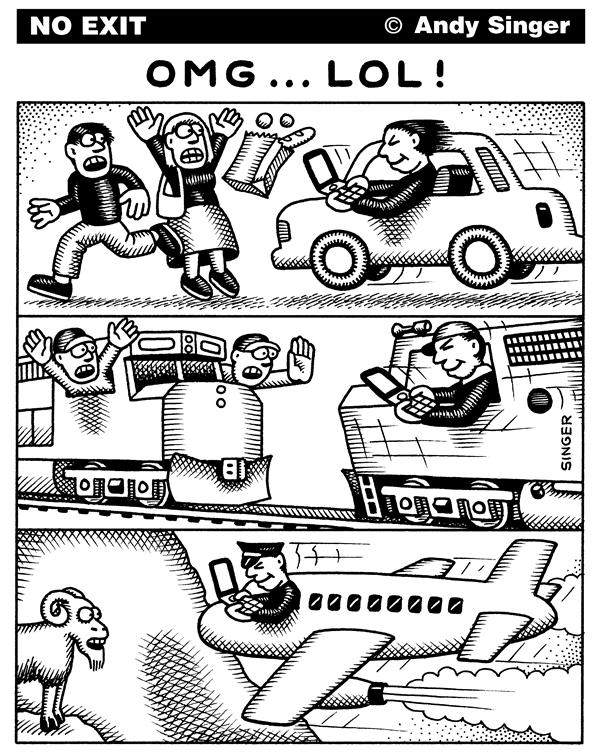 Andy Singer - Politicalcartoons.com - Texting Accidents - English - text,texts,texting,message,messages,messaging,cell,phone,phones,cellphonecellphones,drive,driver,drives,driving,drivers,operating,commuter,train,trains,engineer,engineers,crash,crashes,accident,accidents,Caltrain,California,airplane,airplanes,pilot