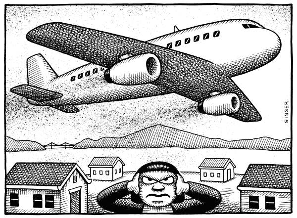 Andy Singer - Politicalcartoons.com - Airplane Noise - English - jet,jets,airplane,airplanes,plane,planes,aircraft,noise,noises,noisy,sound,sounds,roar,roaring,airport,airports,pollution,fly,flying,loud,deaf,deafen,deafening,cities,city,runway,runways,overflight,overflights,over,flight,flights,pattern,patterns