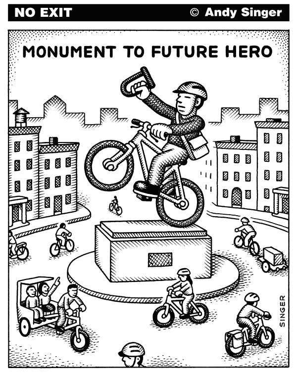 Andy Singer - Politicalcartoons.com - Bicyclist Monument - English - bicycle,bicycles,bicycling,bicyclist,bicyclists,cycles,cyclist,cyclists,cycling,bike,bikes,biking,biker,bicycler,pedal,pedals,pedaling,monument,monuments,transportation,transport,statue,statues,art,arts,environment,environmental,plaza,plazas