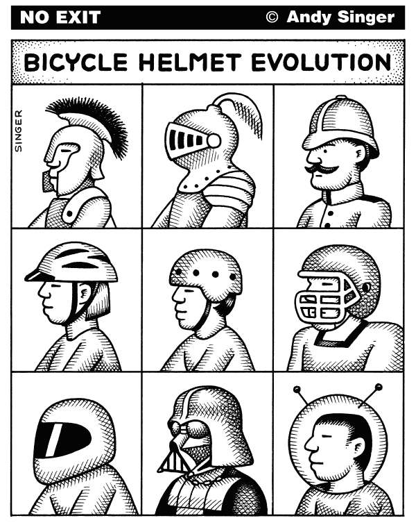 Andy Singer - Politicalcartoons.com - Bicycle Helmet Evolution - English - bicycle,bicycles,bicyclist,bicyclists,cycling,cyclist,cyclists,bike,bikes,transport,transportation,motorcycle,football,knight,knights,helmet,helmets,trojan,Darth,Vader,space,suit,spacesuit,spacesuits,biker,bikers,biking,biked,hat,hats,head,gear